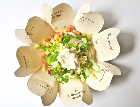 Guactruck's innovative food packaging is made from a single piece of cardboard and comes with incentives for recycling