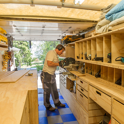 Woodshop on wheels ron paulk on the design of his mobile for Rv workshop