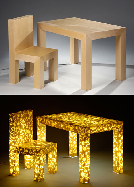 His Lighting Table Series, Made Of Wood And Acrylic, Blew Us Away; The  Furniture Appears To Be Solid Wood, Until You Flip The Switch.