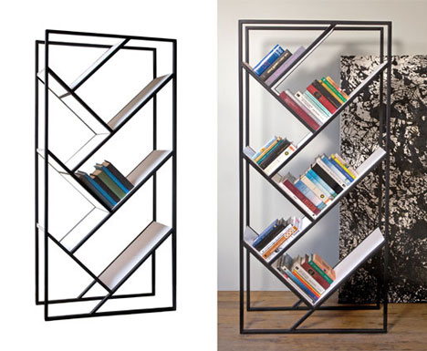 Simple but unusual bookcases by faktura designs