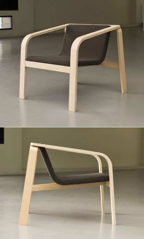 Easy   A Generously Proportioned Easy Chair Made Of Bent Laminated Plywood,  With The Front And Rear Leg Structures Stacked To Form A Stable Brace  Support.