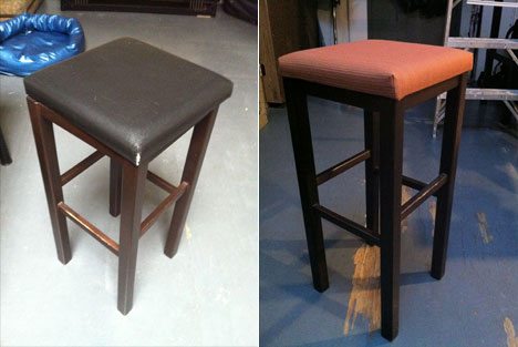 Now you're finished, and you can sit on the stool for many weeks to come  while scanning the papers for your garbageman's obituary. Congrats! - Monster Post: How To Reupholster A Stool - Core77