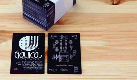 Devices pcb business card looks cool actually does something device a barcelona based motiongraphic design studio recently unveiled their new printed circuit board pcb business card a wallet sized chunk of colourmoves