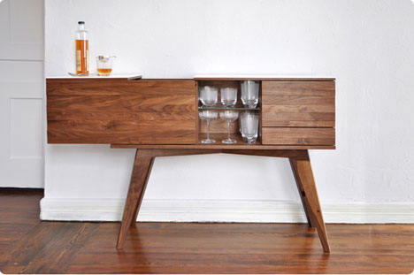 Good The Leftmost Part Of The Hand Built Cabinet Slides To The Side, Revealing  Glassware Shelves And A Bin For Booze Bottles. Additional Storage Is Found  On The ...
