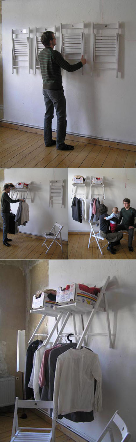 DIY Closet From Folding Chairs