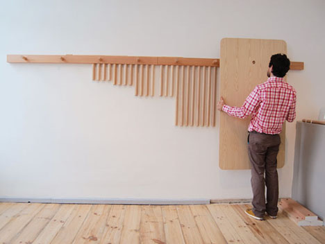 Studio gorm 39 s wood peg system furniture that hangs around for Peg rail ikea