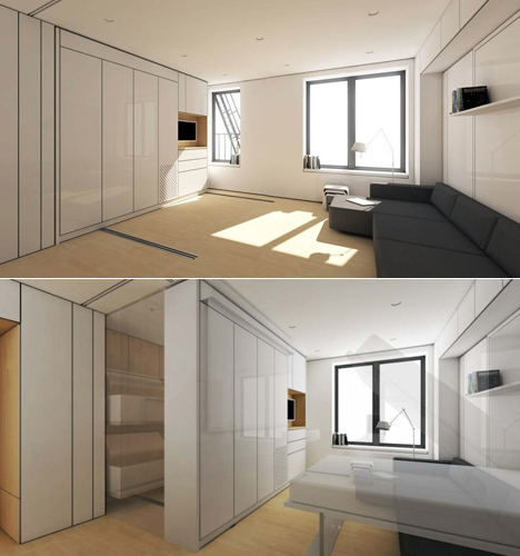 Two Takes on the Transforming Micro-Apartment, One Polished, One ...