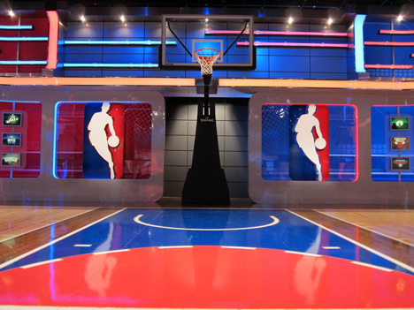 Designing nba tv 39 s wraparound set core77 for How to build a half court basketball court