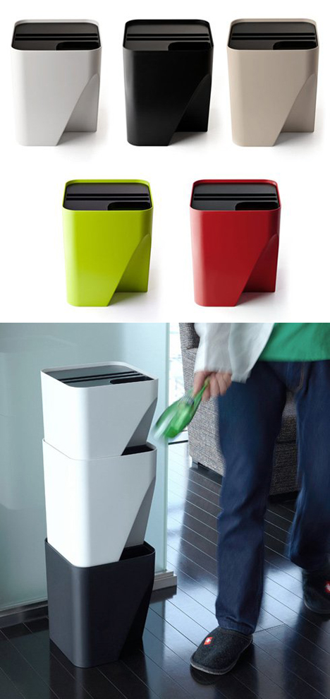 Qualy block stacking collection cans for space tight for Trash can ideas for small kitchen