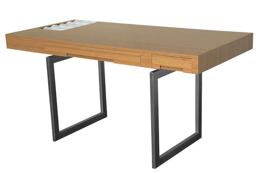 Desk Heinrik Wood Computer Desk With Keyboard Tray By
