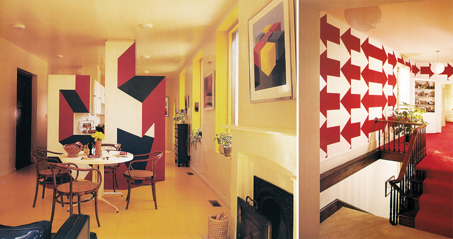 Above: interiors for the Tenenbaum house (1972). Top image: a Buchsbaum  kitchen from 1978 (left) and a 1980 bedroom with a custom platform bed