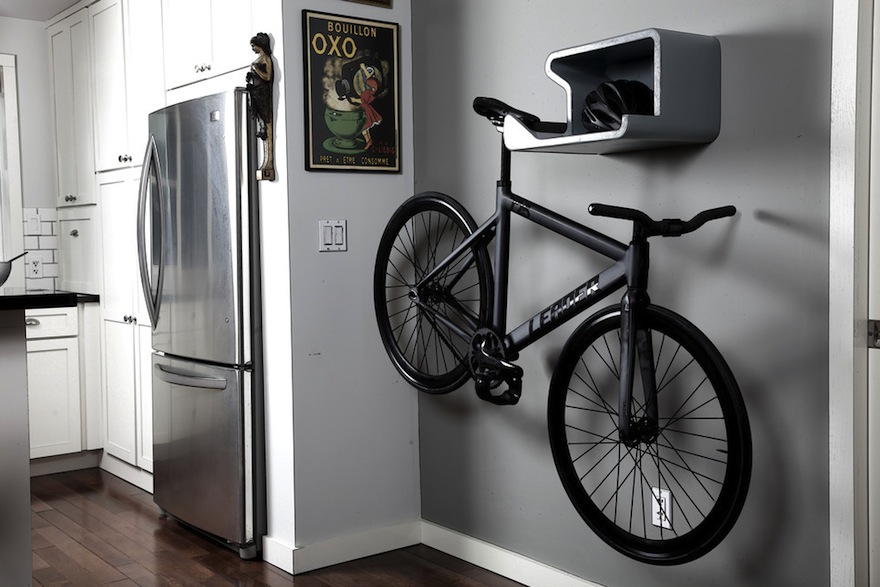 Designing for bikes stored on walls core77 - Bike storage small space design ...