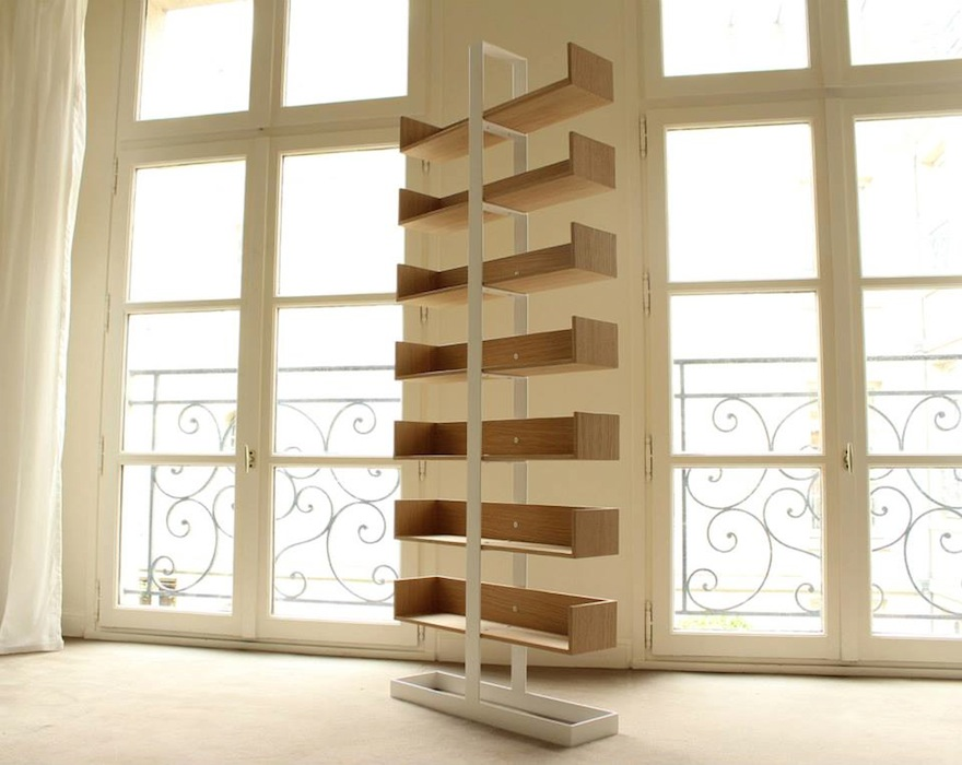 The Séverin Bookcase From Alex De Rouvray Design, Designed For Small Format  Books (as Well As CDs And DCDs), Could Also Serve As A Room Divider.