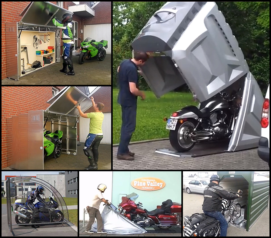 Hard Covered Bike Shelters : Motorcycle storage designs from around the world part