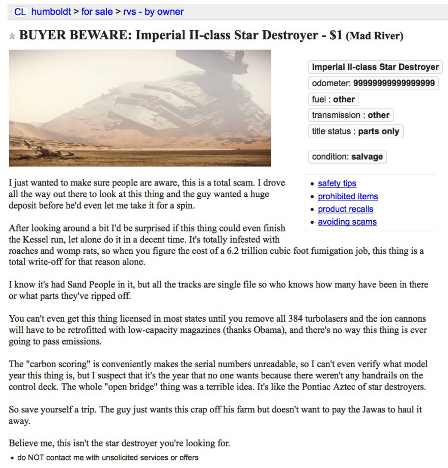 Star Destroyer For Sale On Craigslist Core77