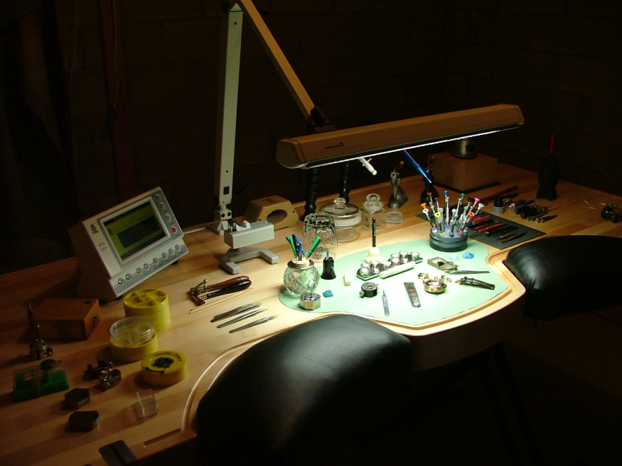 Ex anthrax guitarist turned master watchmaker designs an ergonomic workbench core77 Watchmakers bench