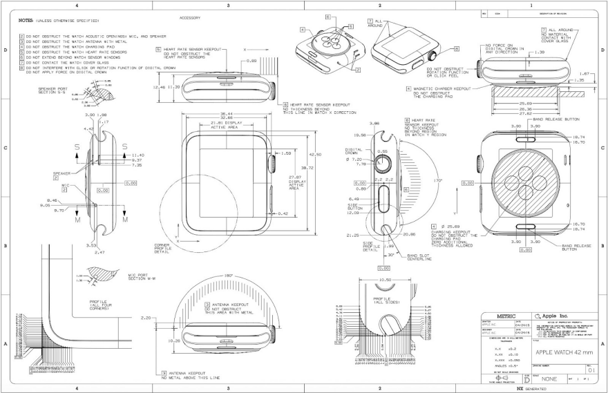 Apple releases apple watch cad drawings core77 for Cad blueprints