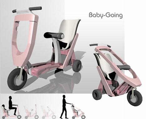 Lotta tu 39 s baby going stroller cum scooter core77 Motorized baby stroller