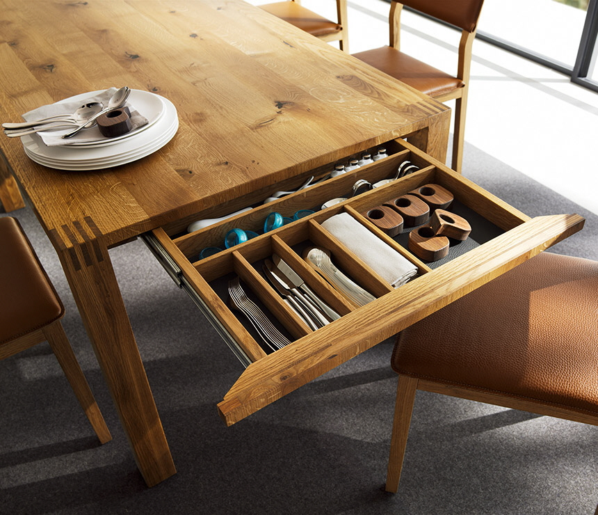 Kitchen Tables With Drawers An uncommon storage space the dining table core77 workwithnaturefo