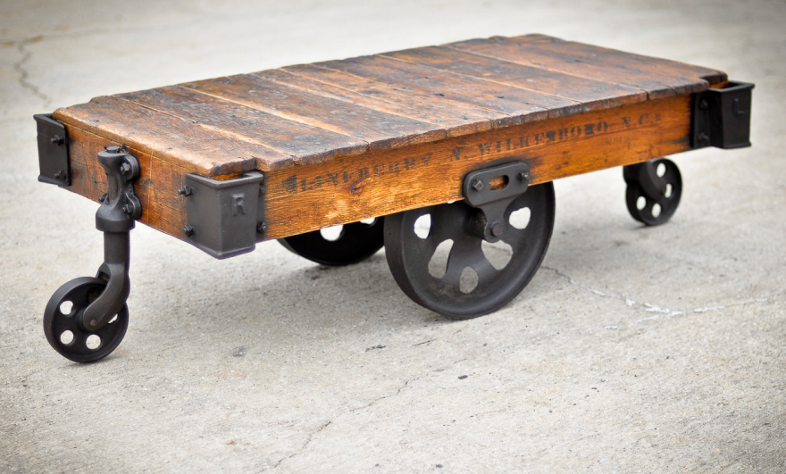 why old industrial carts have their wheels in a diamond
