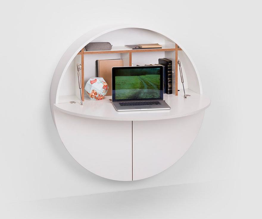 Emkou0027s Circular Hideaway Desk And Storage Cabinet