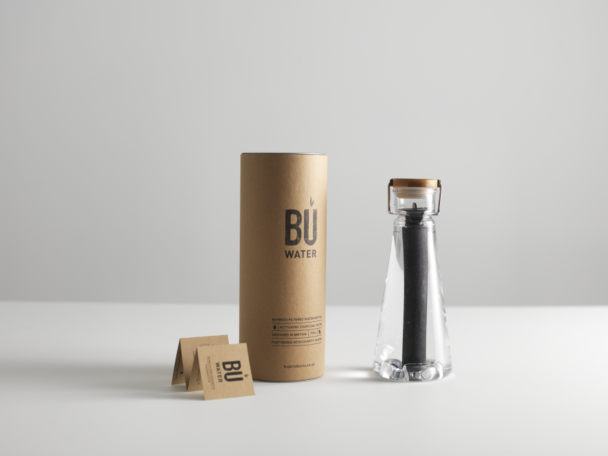 a sleek bamboo charcoal filtered water bottle core77