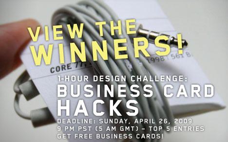 1 Hour Design Challenge Winners Business Card Hacks