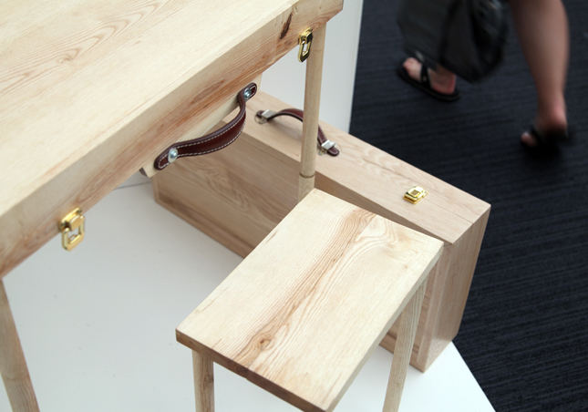 Sam Dunne Desk in a briefcase Fold-away solution for increasingly miniature  inner-city