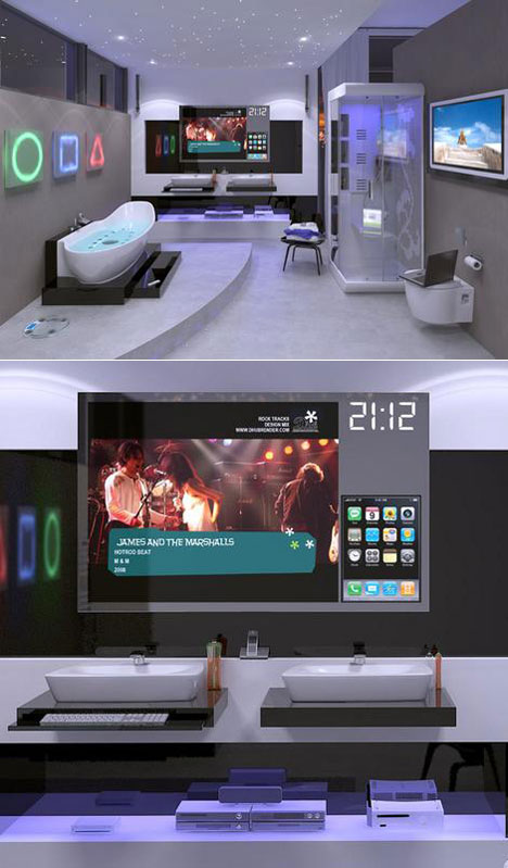 To Look At Some Bathrooms Of The Future See Where People Will Crap In Year 2020 Like This Digital Bathroom Design Concept From Ideal Standard