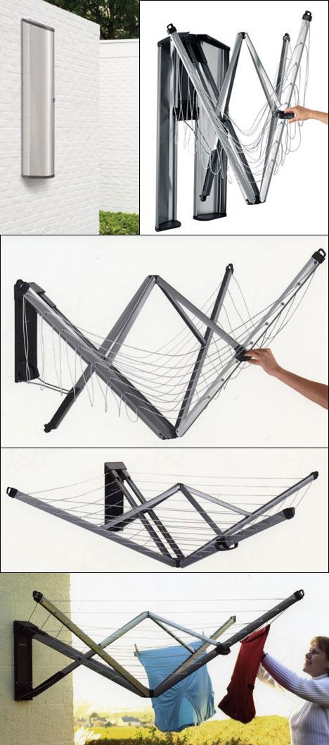 Nifty Wall Mounted Folding Laundry Rack Core77