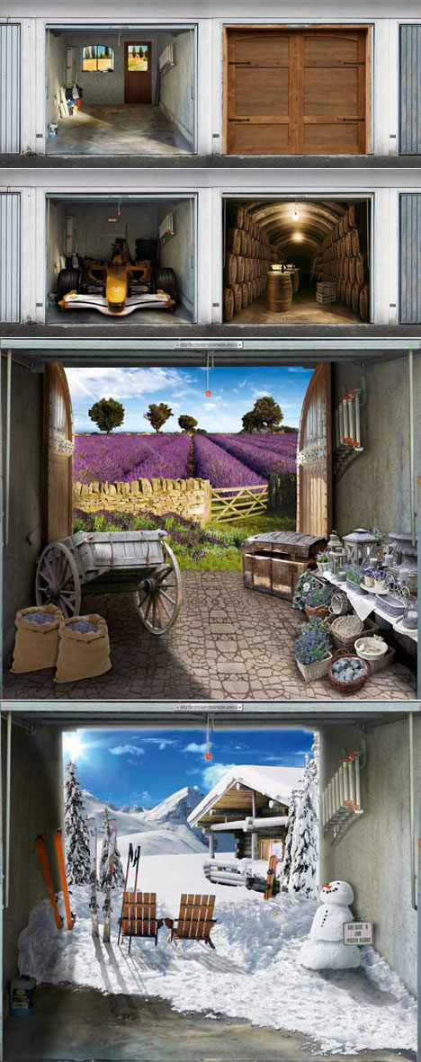 Style Your Garage S Photo Tarpaulins Are Meant To Cover Boring Door Turning That Shabby Shed Into A Farmhouse From Provence Swiss Chalet