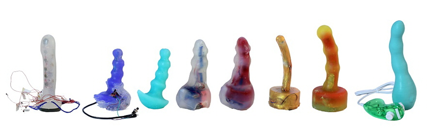 The evolution of the second-gen Mod vibrator, culminating in the final version at the far right