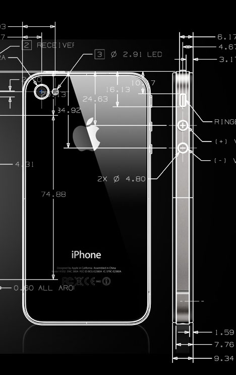 iphone 4 dimensions cool actual iphone 4 cad drawings core77 10851