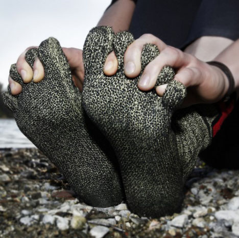 the somewhat misleadingly named swiss barefoot company wants you to wear their socks which are made from kevlar with polyester nubs on the sole