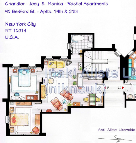 Inaki Aliste Lizarraldes Blueprints to TV Show Homes Core77 – Floor Plans Of Tv Homes