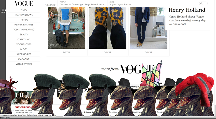 Thanks to Hacker, Vogue UK's New Fashion Rage: Dinosaurs in