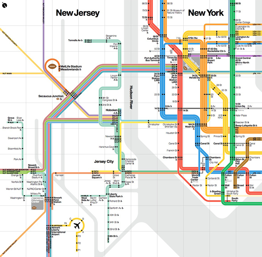 Ny Subway Map To New Jersey.What Influences The Design Of Nyc Subway Maps Vignelli Associates