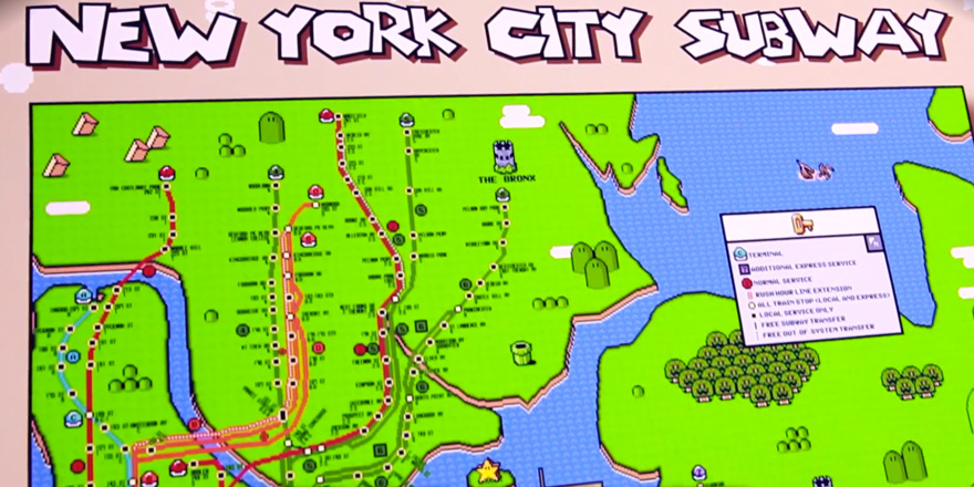 Subway Map For New York City.And Now An 8 Bit Super Mario Version Of The New York City Subway