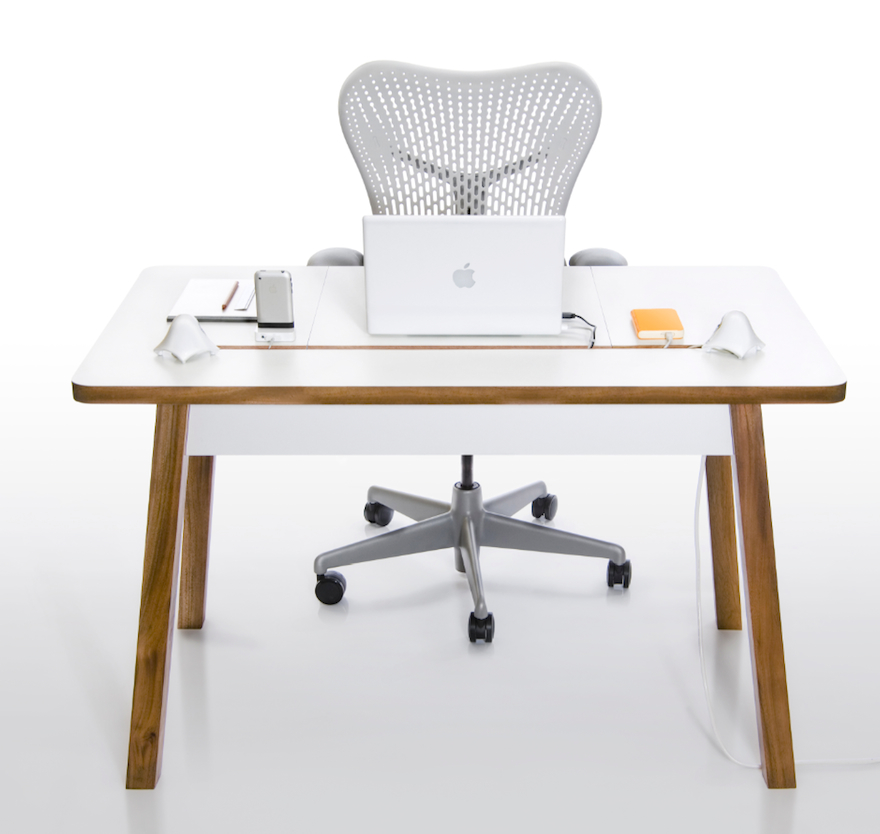 The Bluelounge Studiodesk Has An Elongated Slot That Feeds Into A Hidden Storage Compartment