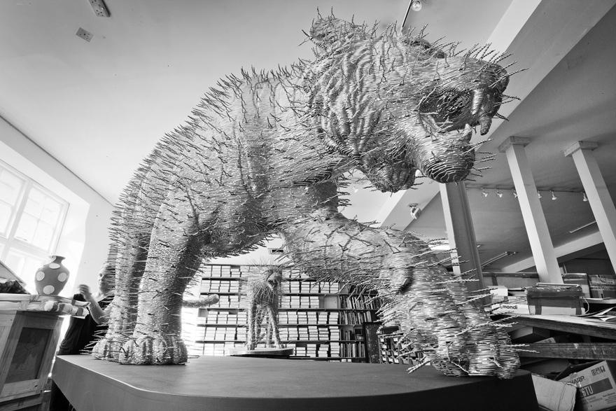 Twisted Metal: David Mach Sculpts Wire Clotheshangers into Wildlife
