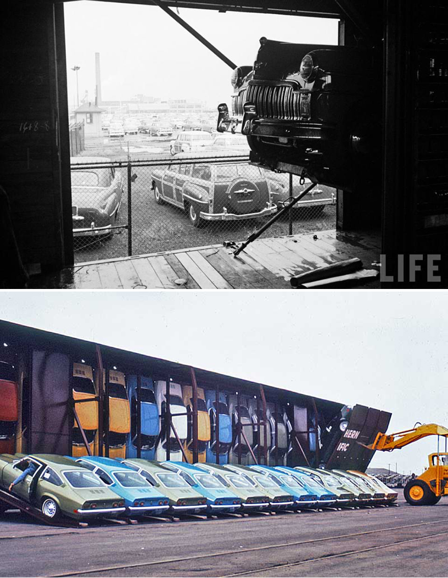 unlikely ways they used to transport cars by train core77
