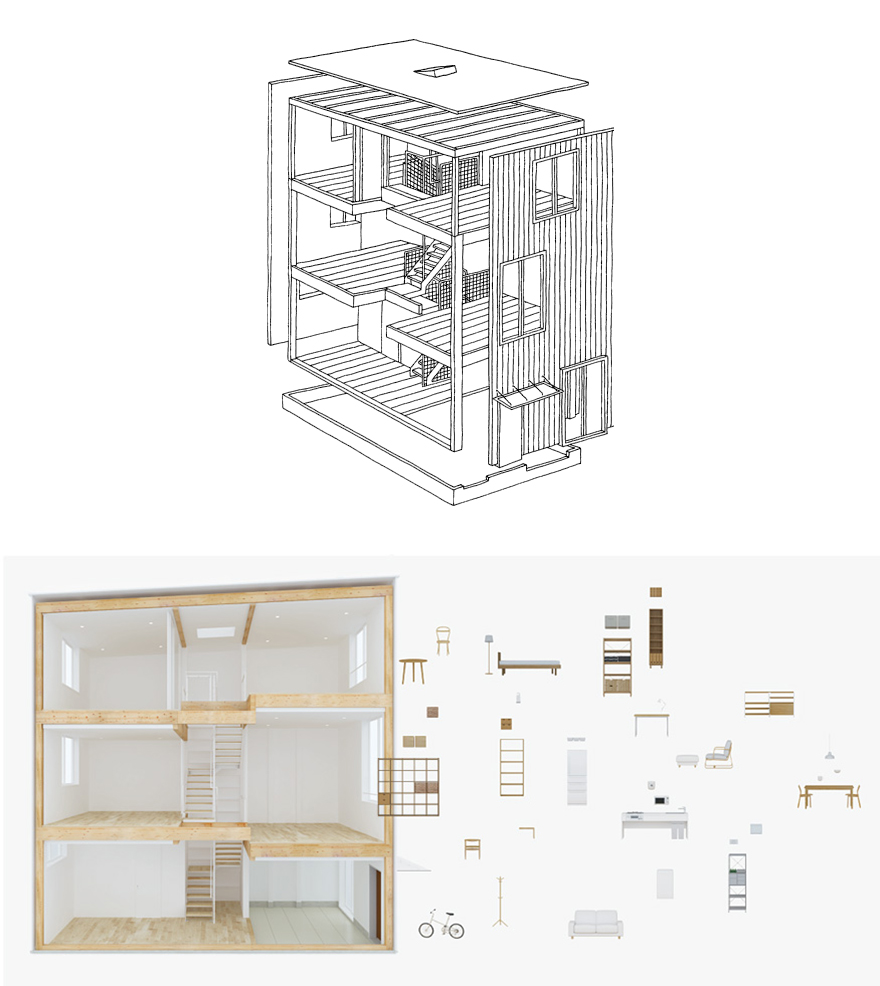 Muji's Latest Pre-Fab Re-Thinks the Design of a House - Core77 on houses in tokyo japan, narrow house interior design, small apartment building in japan, micro houses in japan, tall skinny building in japan,
