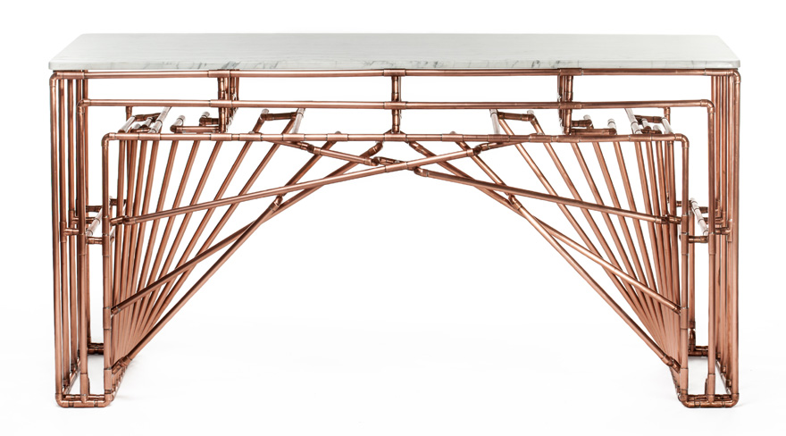 In The Details Turning Standard Copper Tubing Into A Gaudi Esque Console Table With Little Help From Brooklyn Bridge