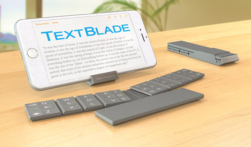cd2435894d7 Holy COW this is cool, or at least, looks it. A California-based company  called WayTools has developed the TextBlade, a diminutive, minimalist  keyboard that ...