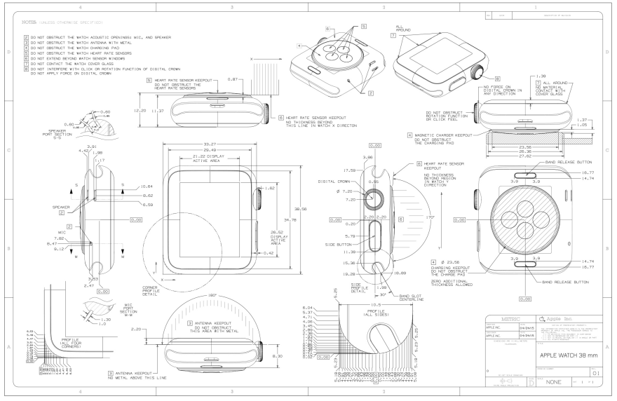 Apple releases apple watch cad drawings core77 malvernweather Gallery