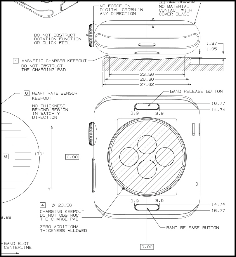 Apple Construction Dimensions: Apple Releases Apple Watch CAD Drawings