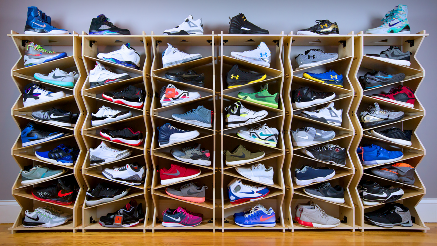 A Shoe Storage System Designed For Sneaker Collectors And Retail