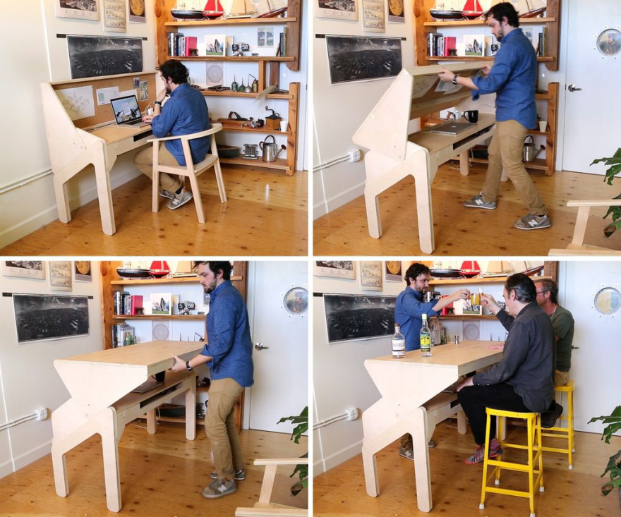 Home Office Happy Hour A Desk That Transforms Into A Bar Core77