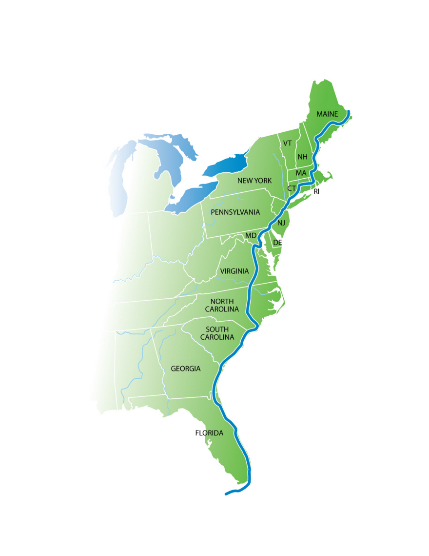 Florida To Maine Map.A 2 900 Mile Car Free Bicycle Path Running From Maine To Florida Is