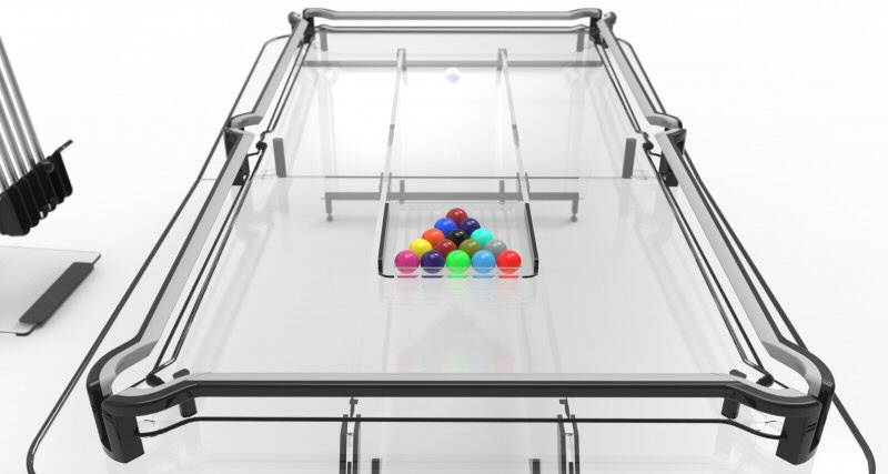 A Glass Pool Table With A Catch Core - Lucite pool table